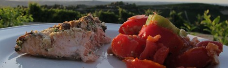 Almond Salmon and Panzanella Vineyard