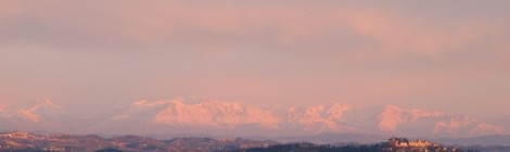 The Winter Alps with the Tower of Barbaresco
