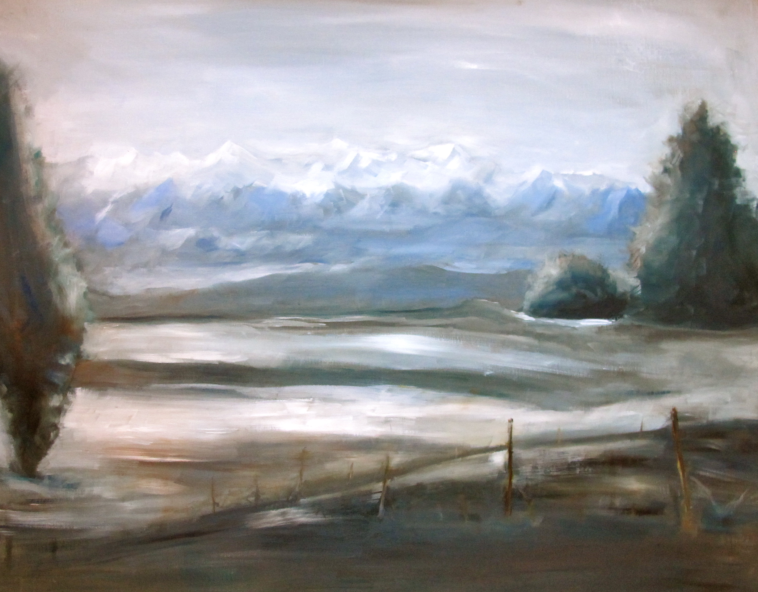 And finally, a painting my Mom did of winter in the vineyards.