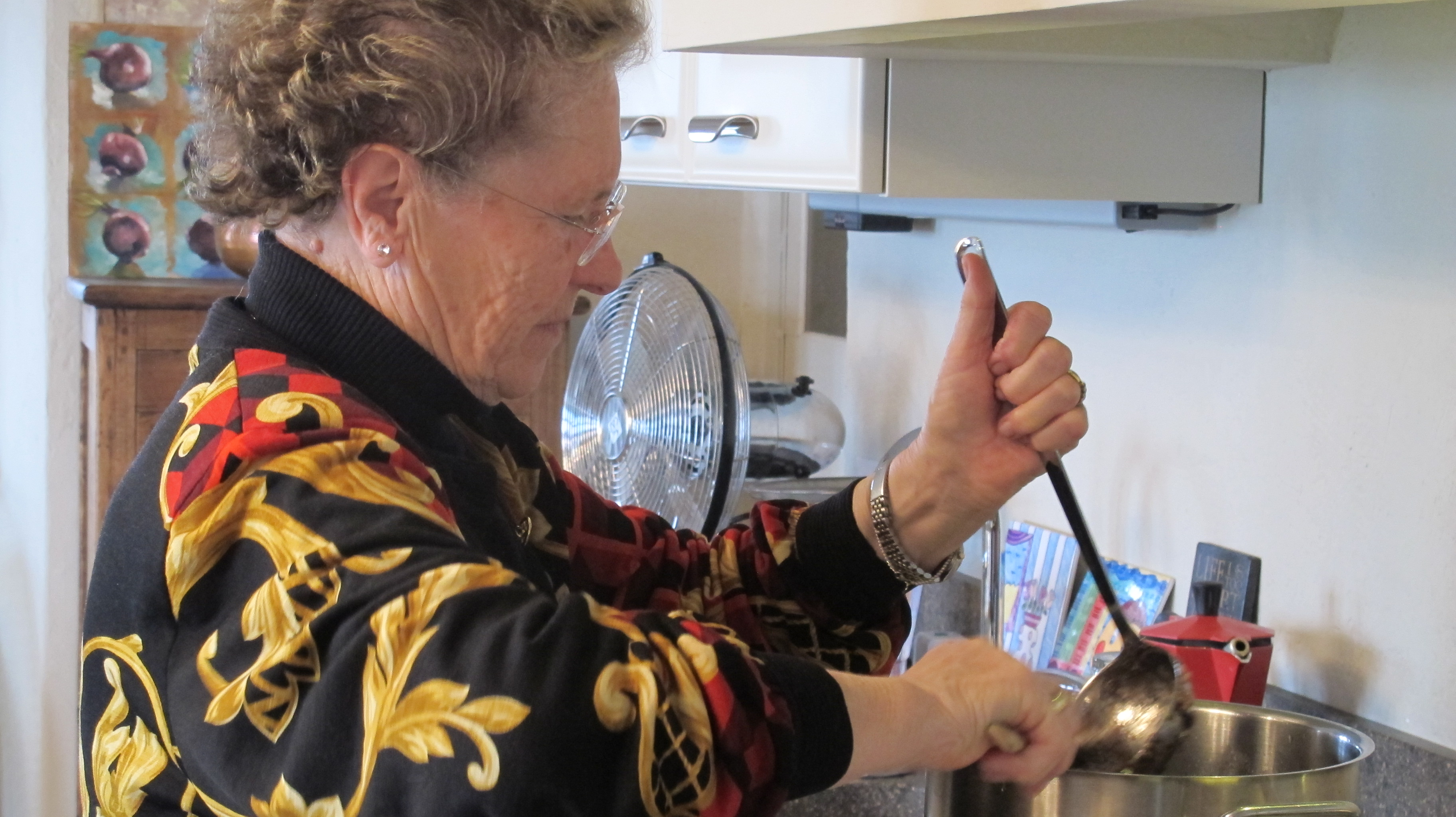 Nonna Italia cooks the radicchio with true Italian grandmotherly passion.