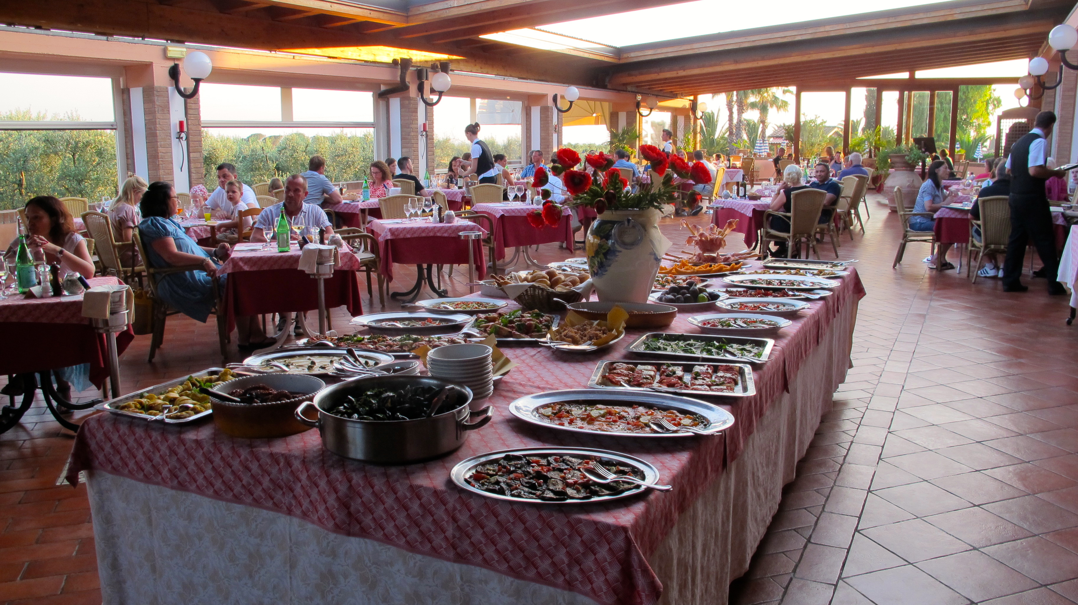 The magical  buffet of antipasti displayed each night at the Agrihotel.