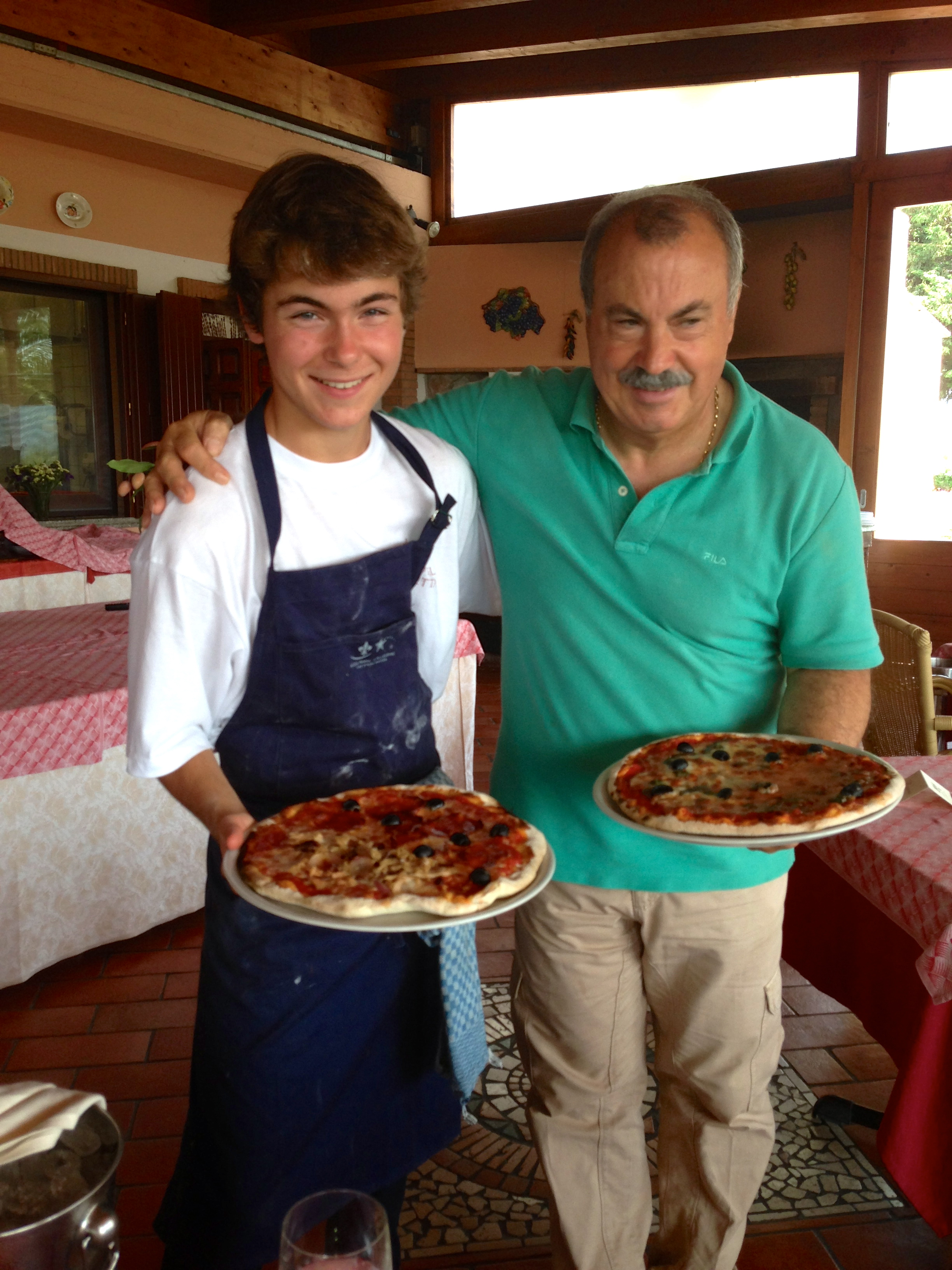 Luigi and me with my two first pizzas.