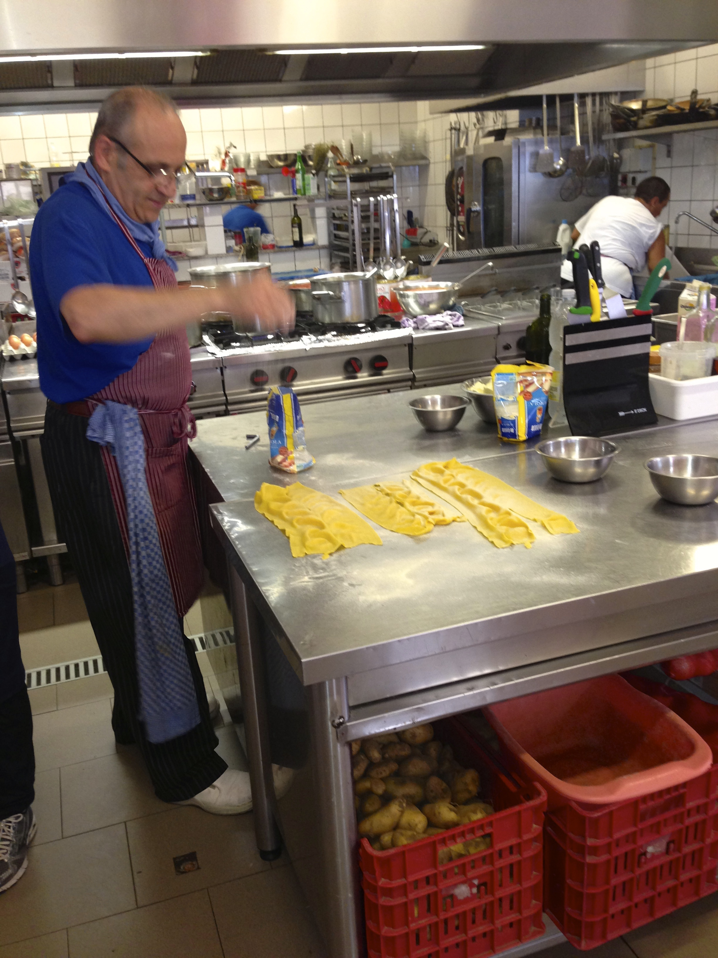 Matteo preparing some homemade pasta.