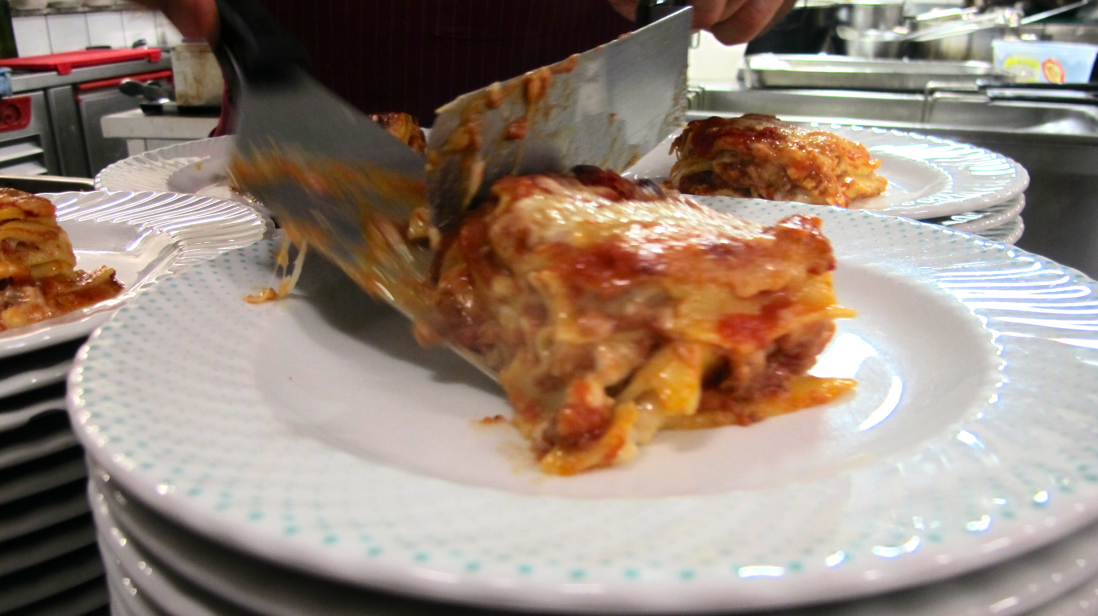 The lasagna I made with Sou Chef Matteo was served as the first course one night.