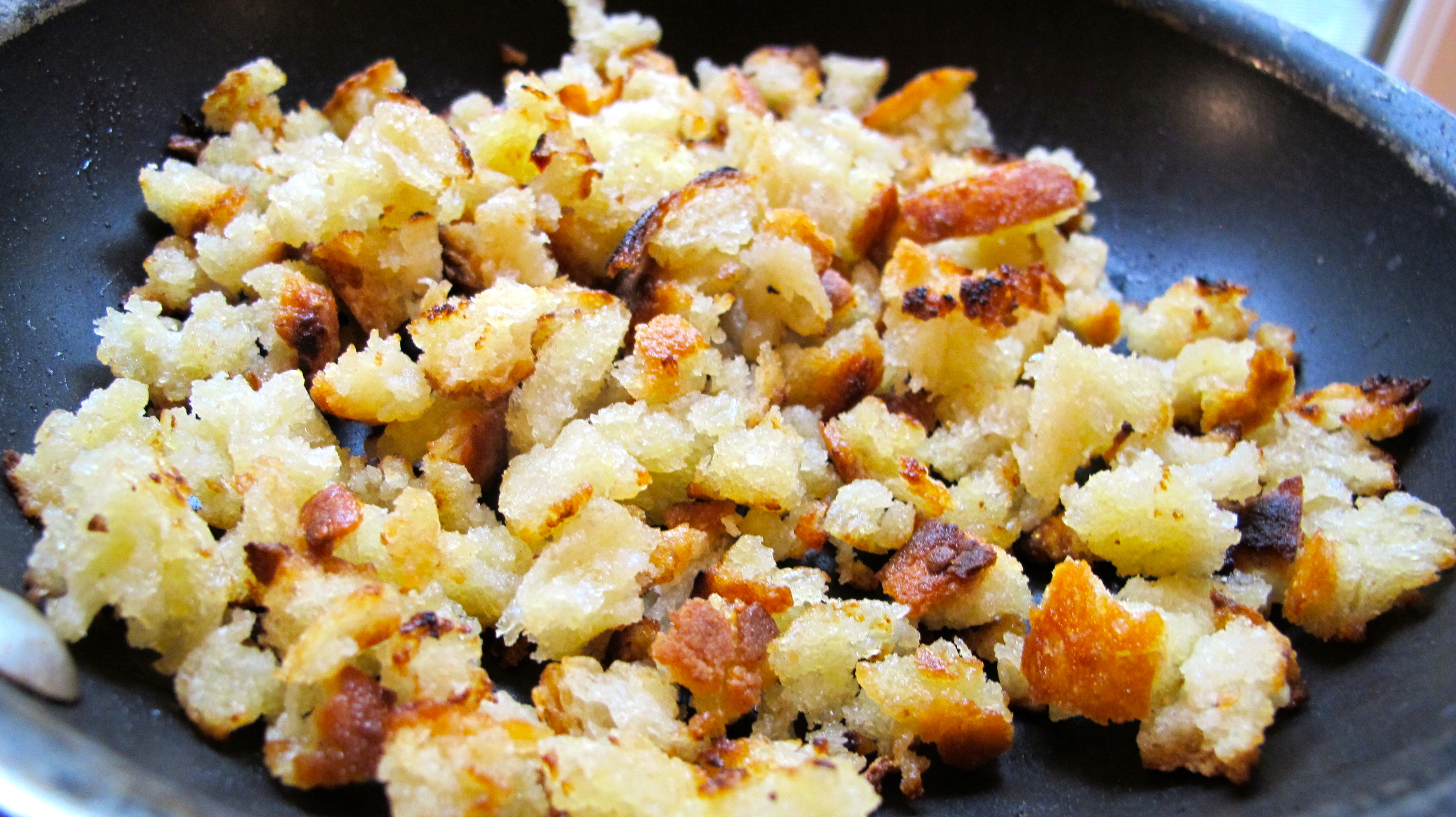 Toasted breadcrumbs made with homemade white bread.