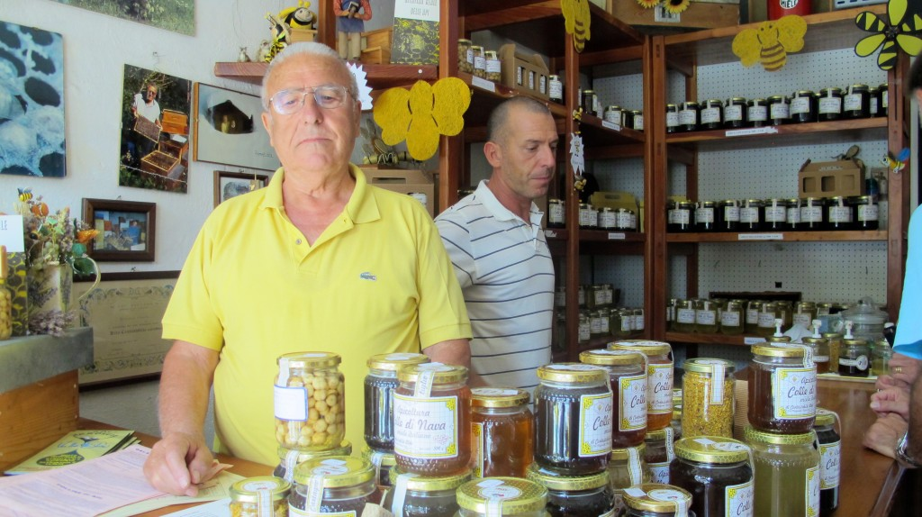 The mountain town's beekeepers. Italian father and son.