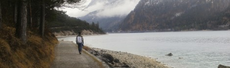 Walking along the shore of Lake Achensee.