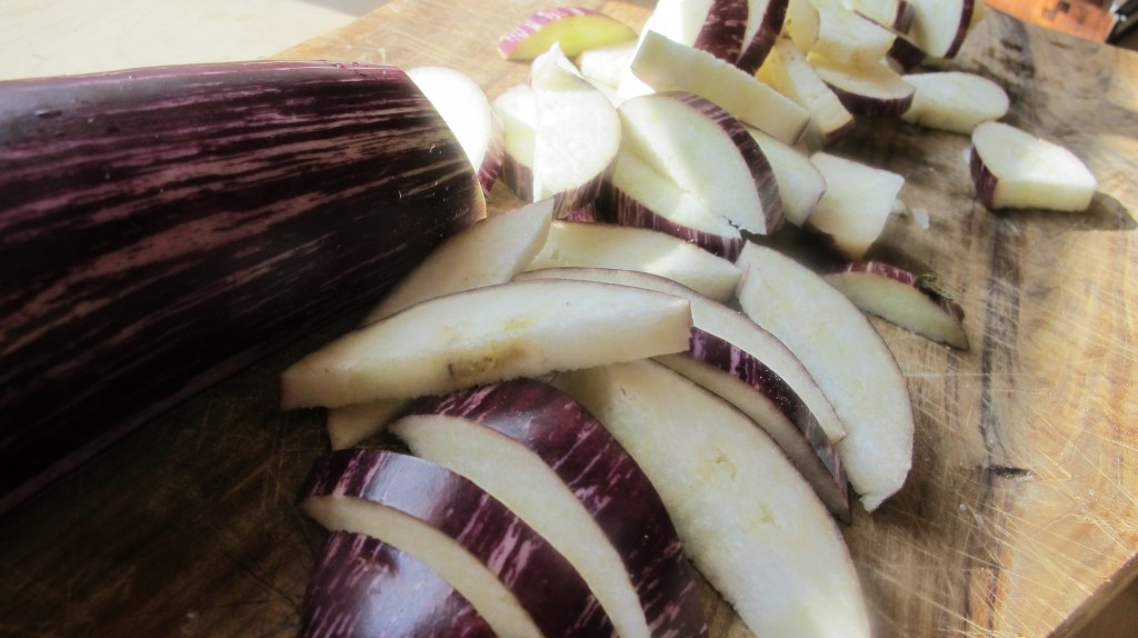 Slice the eggplant into nice chunks.