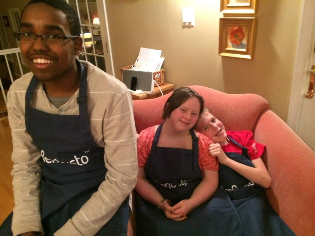 (from left to right) CJ, Elizabeth, and Patrick at the first BenGusto™ cooking class.