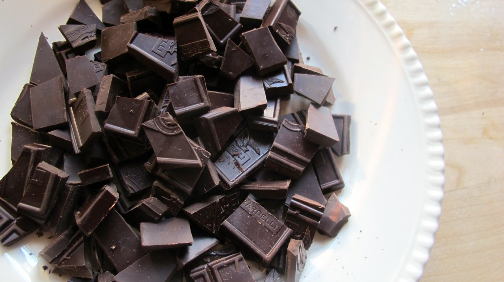Chop the unsweetened chocolate.