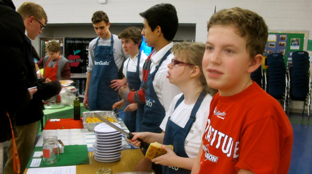 Serving the handmade pasta at IB Iron Chef (Feb. 2014).