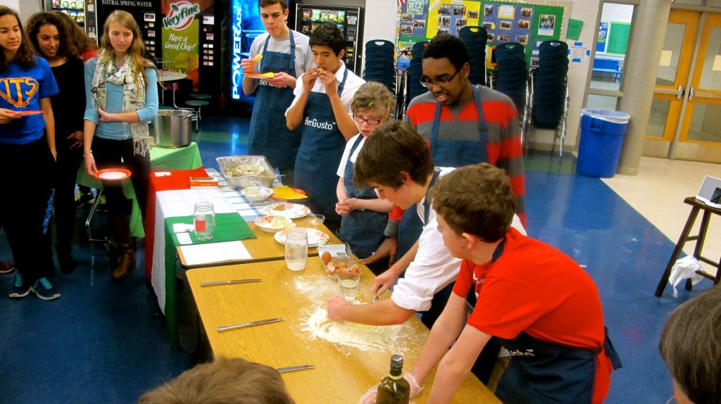 The pasta-making demonstration.