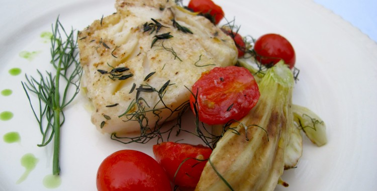 Roasted Haddock with Fennel, Cherry Tomatoes, and Yellow Onion