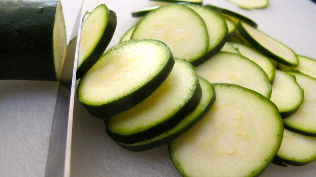 Thinly slice the zucchini into disks.