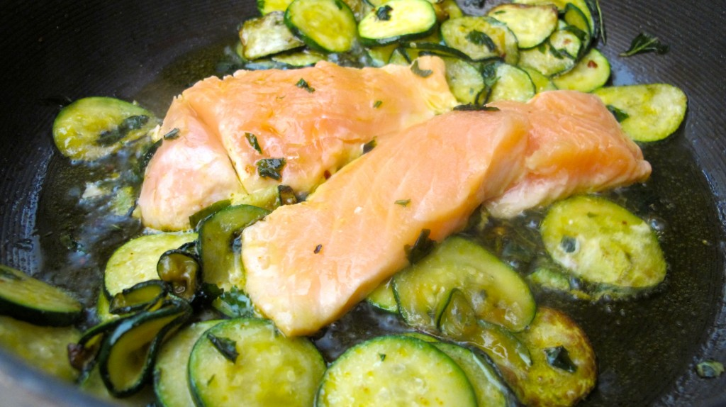 Place the salmon in the center, with the zucchini around it.