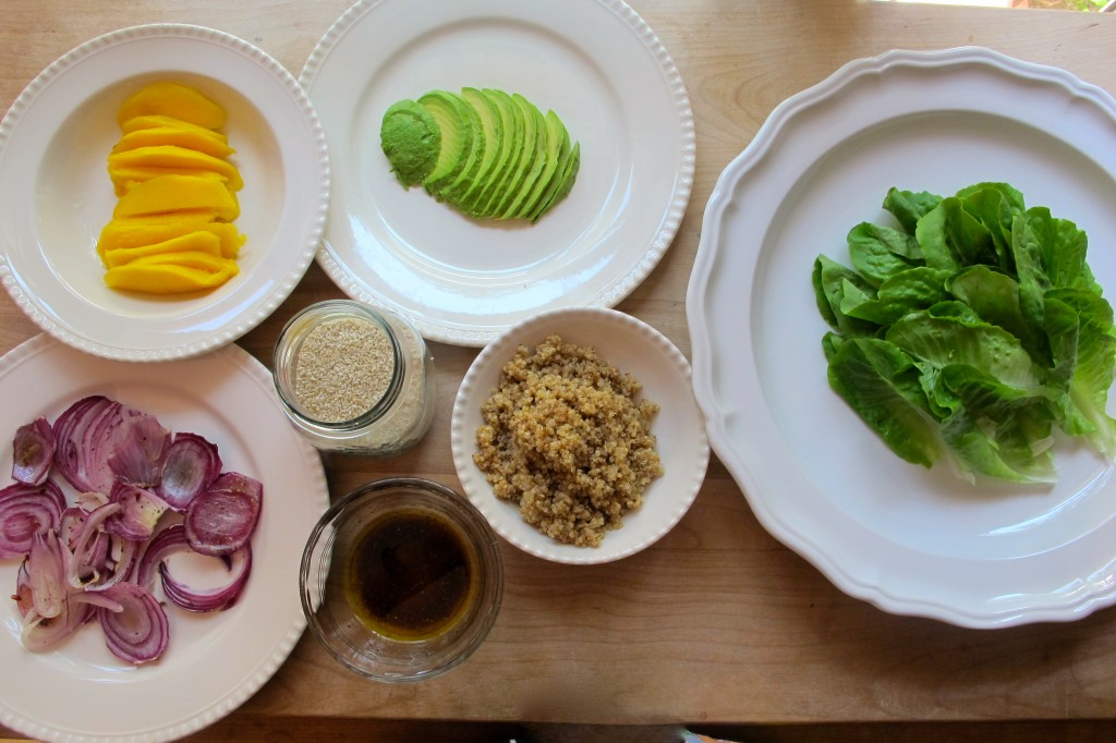 All of the components of the salad. A true artist's palette.