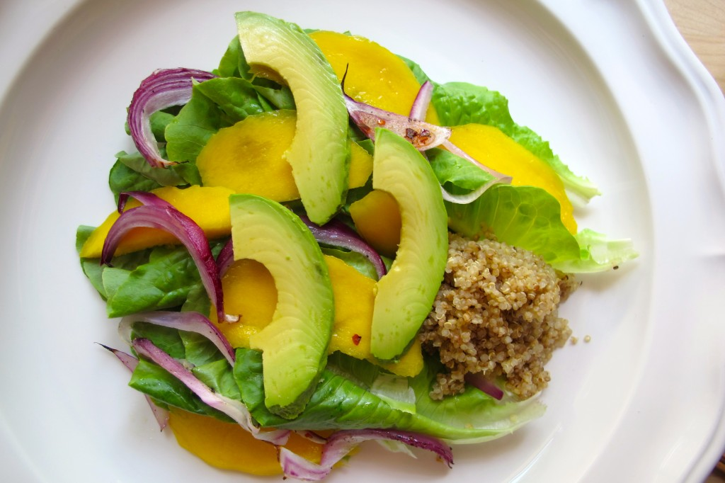 Add a spoonful of the quinoa on the salad.