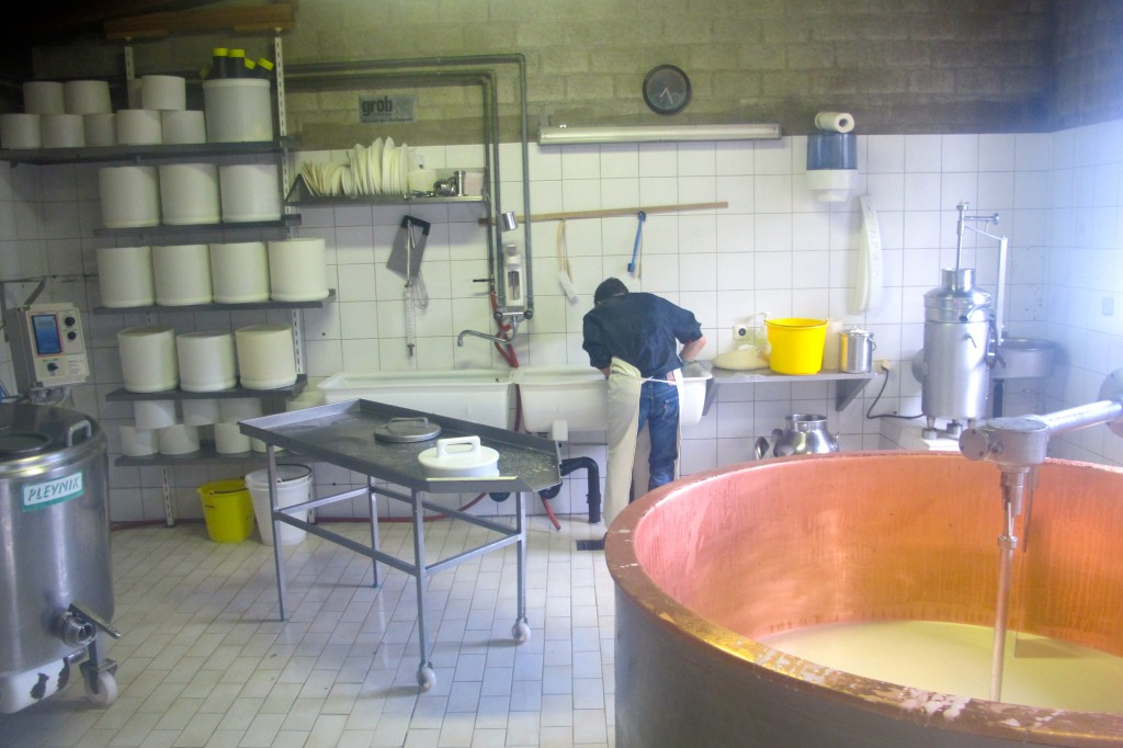 I scrub some buckets and funnels. We spent more time cleaning than making cheese.