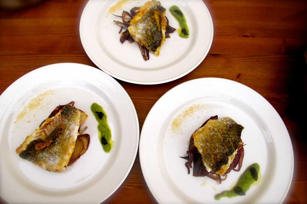 Branzino with Ricotta and Caramelized Red Onion