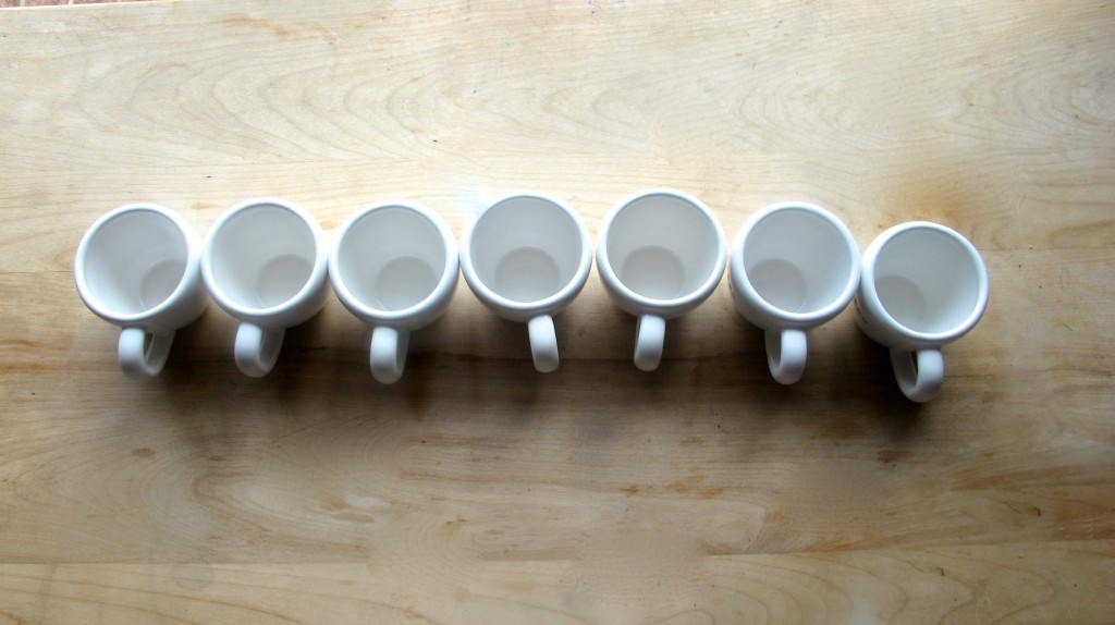 Lay out your cups. I like to use these little espresso cups. Tiramisu is rich, so it's the perfect portion!
