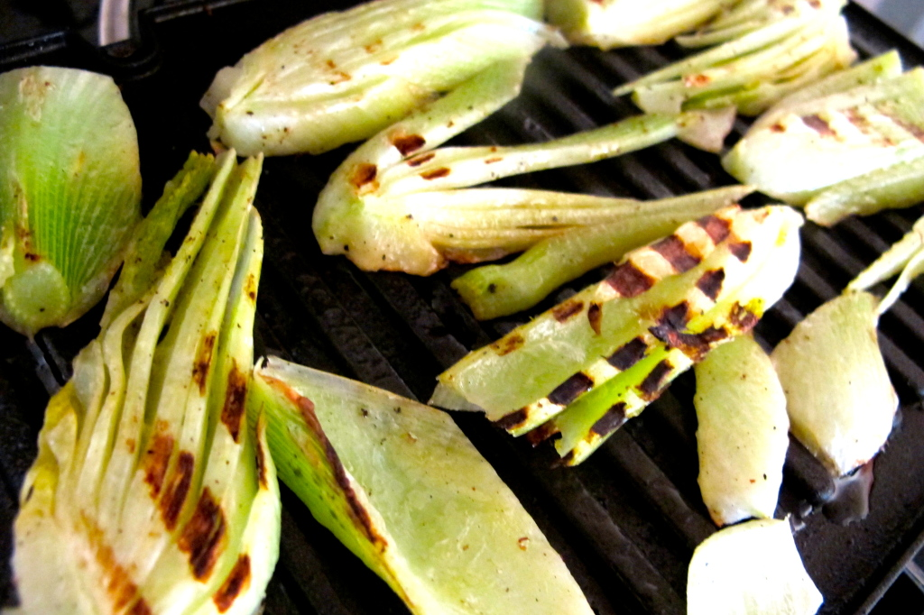 Fennel is grilled when you see these nice grill marks, but the fennel itself is still crunchy.