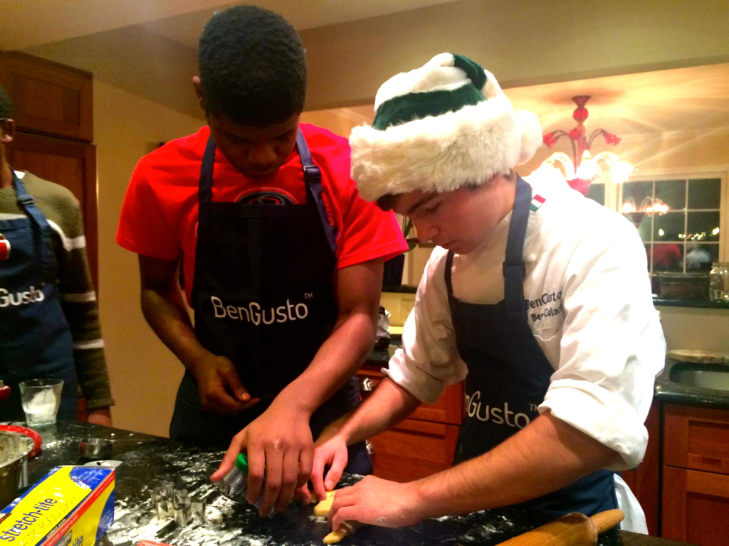 Marcus prepares to cut his cookie out.