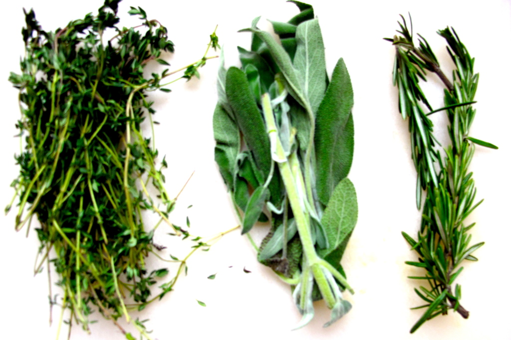 You need thyme, sage, and rosemary. I would put a little more rosemary than shown.