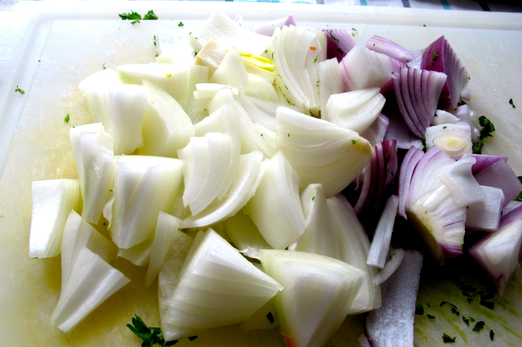Diced chunks of yellow and red onion.