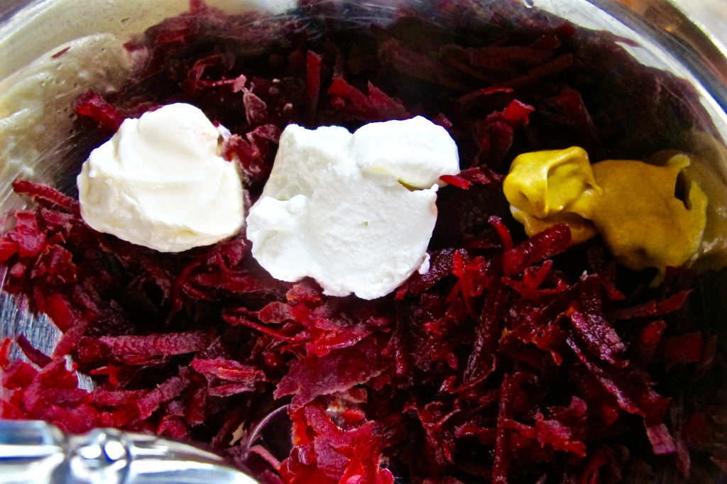 The Red Beet Slaw is really simple. You only need seven ingredients: beet, greek yogurt, mayo, honey, dill, dijon mustard, and salt.