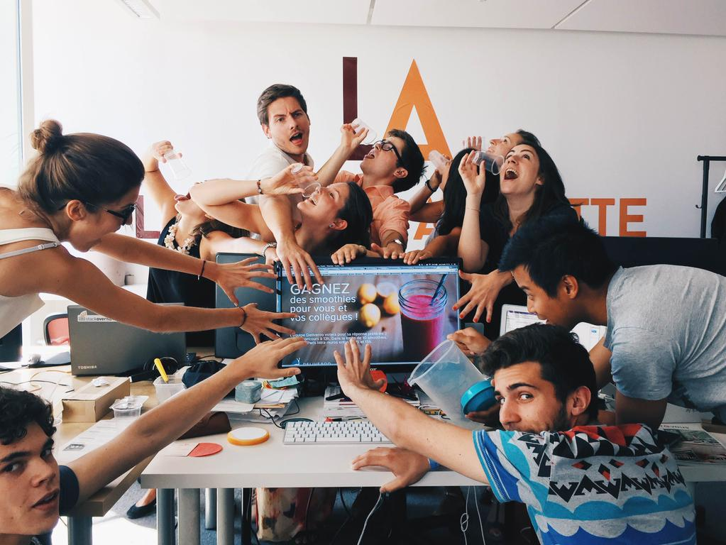 This is the La Belle Assiette team in its purest form. We entered a contest for a free smoothie delivery by taking a picture of a thirsty group of startup junkies.