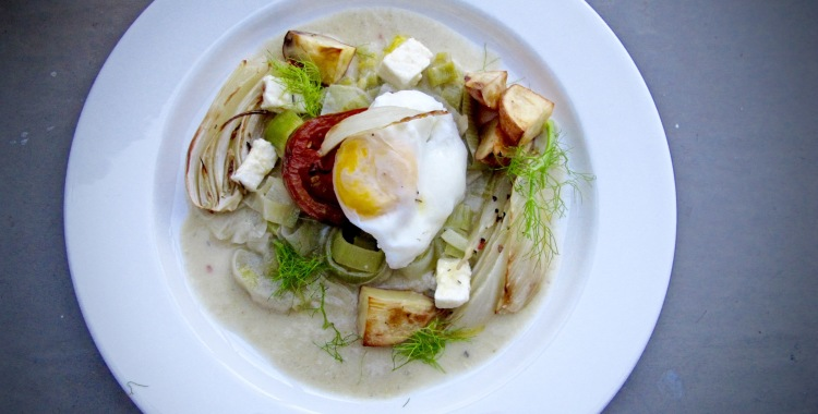 Poached Egg in Artichoke Cream and Leek