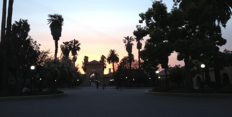 California sunset on Stanford campus