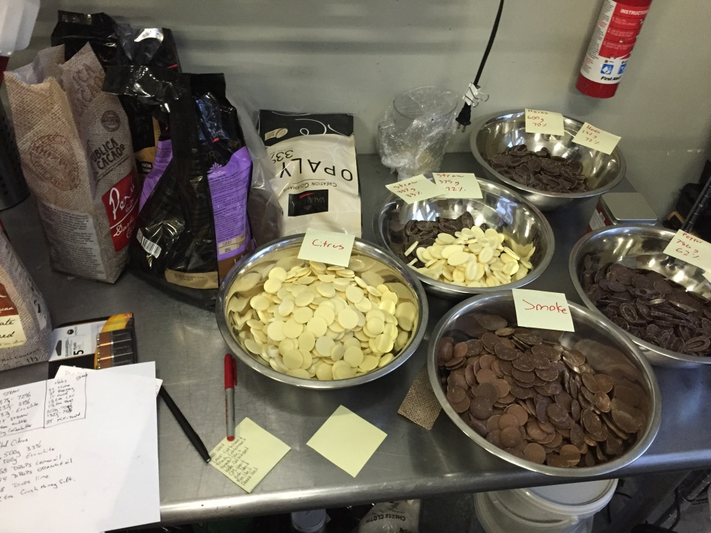This was my workstation when I was measuring ingredients to make specialty bars. Fleurir uses really fine single-sourced chocolate baking chips from all over the world. The Ecuadorian white chocolate was incredible–you could taste the fresh green grass that was fed to the cows.
