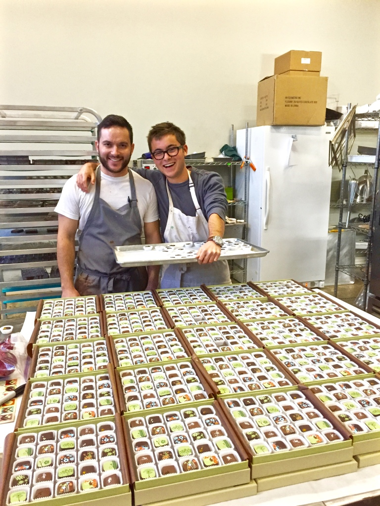Matt and I after finishing boxing holiday special truffle boxes to be shipped across the country.