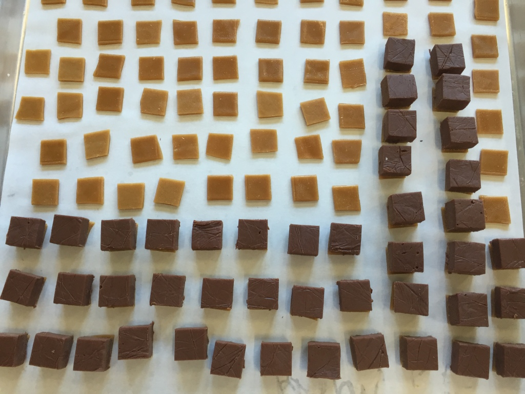 A wattleseed ganache is carefully placed on each square of toffee. I did this by placing a dollop of liquid chocolate on each square to glue the ganache on top.