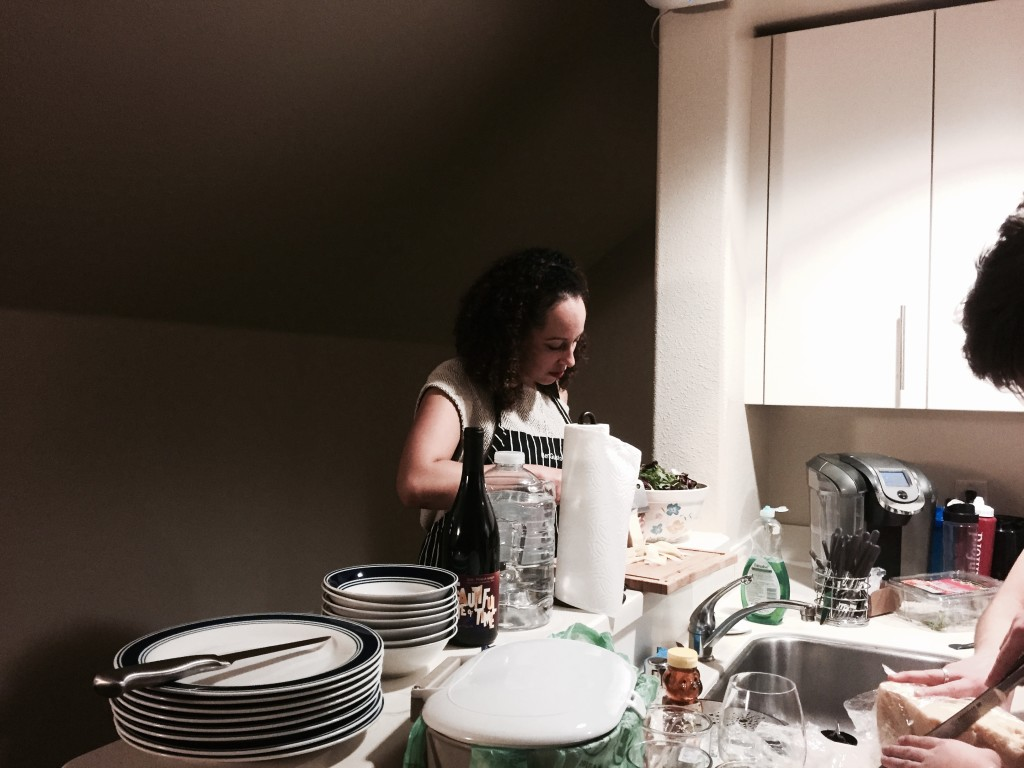 Jenée Desmond Harris, a JSK fellow specializing in journalism and coverage of race and politics in the media and Harvard Law graduate, prepares a salad of radicchio and pecorino.